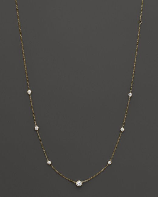 Bloomingdale's - Metallic Diamond Station Necklace In 18k Yellow Gold, 1.0 Ct. T.w. - Lyst