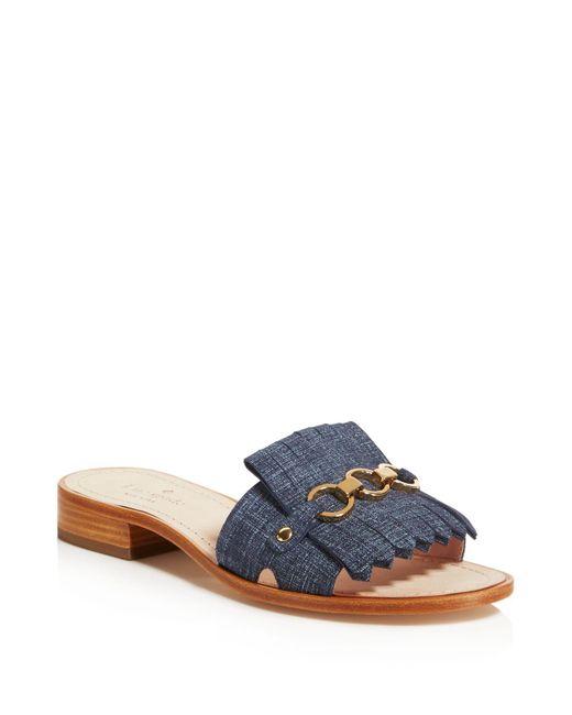 Kate Spade | Blue Brie Kiltie Slide Sandals | Lyst
