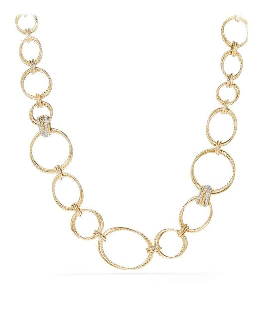 David Yurman   Metallic Crossover Gold Convertible Statement Necklace With Diamonds   Lyst