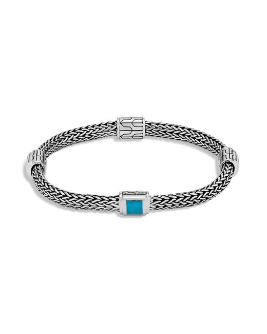 John Hardy | Blue Sterling Silver Classic Chain Extra Small Four Station Bracelet With Turquoise | Lyst
