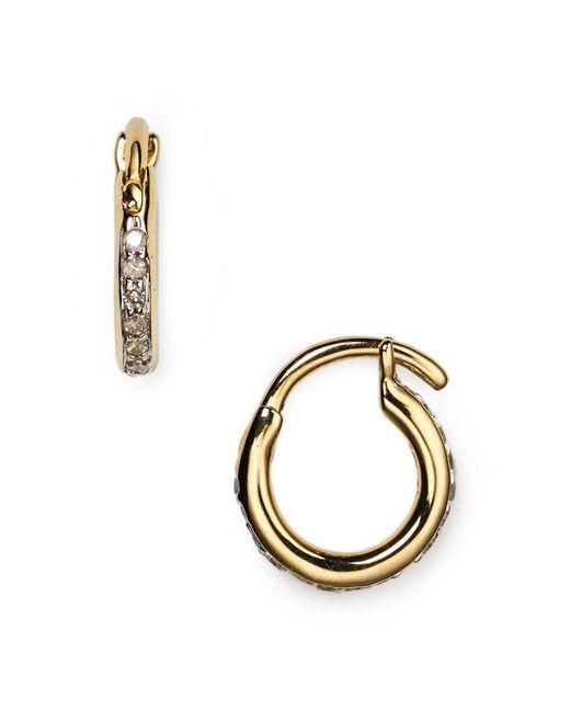 Adina Reyter | Metallic Pavé Huggie Hoop Earrings | Lyst
