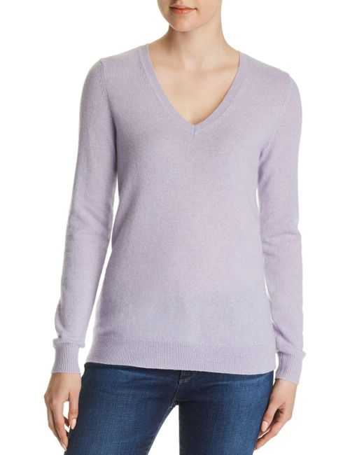 C By Bloomingdale's - Purple V-neck Cashmere Sweater - Lyst