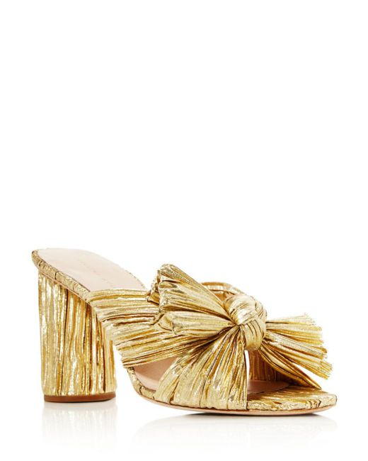 Loeffler Randall - Women's Penny Pleated Metallic High-heel Slide Sandals - Lyst