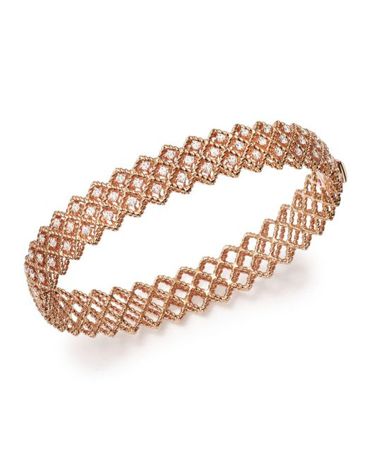 Roberto Coin - Metallic 18k Rose Gold New Barocco Diamond Bangle - Lyst
