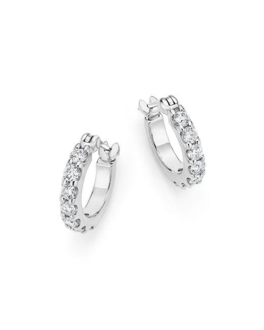 Bloomingdale's - Diamond Small Hoop Earrings In 14k White Gold, .50 Ct. Tw. - Lyst