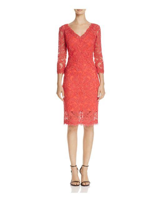 Tadashi Shoji | Red Lace Cocktail Dress | Lyst