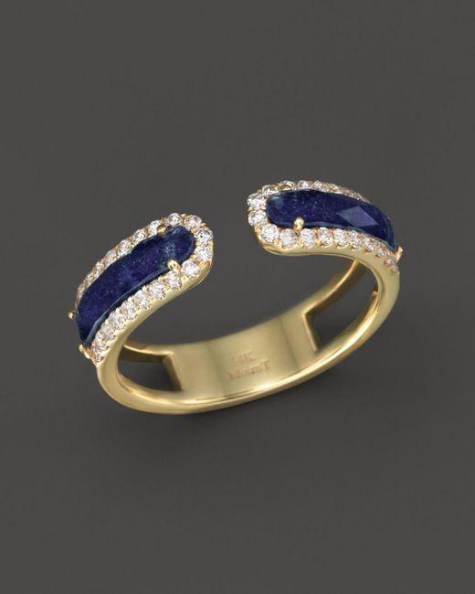 Meira T - Metallic 14k Yellow Gold Lapis Ring With Diamonds - Lyst