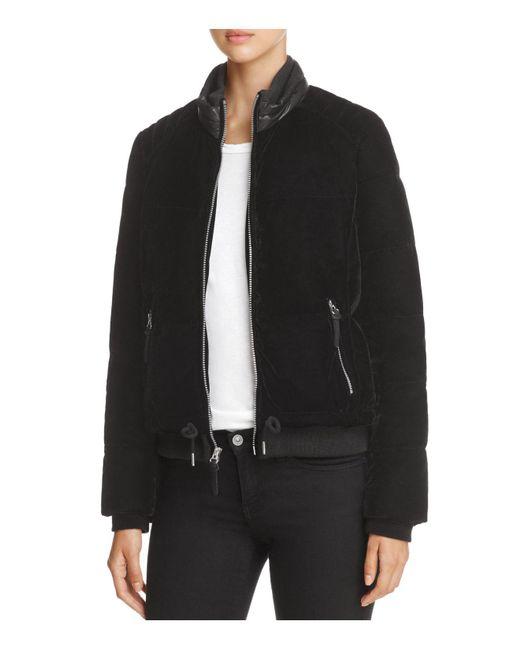 Marc New York | Black Vita Velvet Puffer Coat | Lyst
