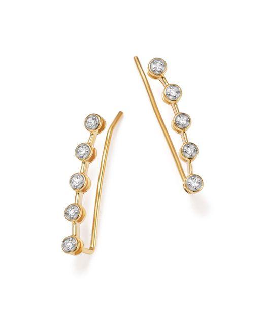 Adina Reyter - Metallic 14k Yellow Gold Five Diamond Ear Climbers - Lyst