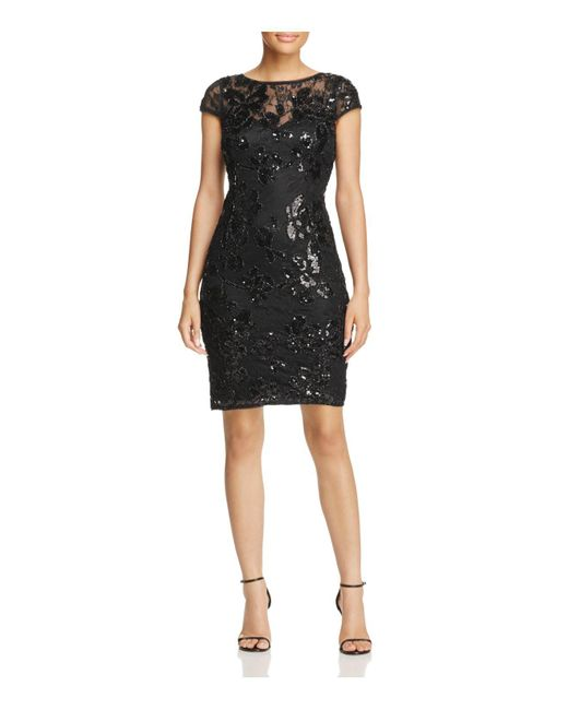 Adrianna Papell   Black Embellished Lace Dress   Lyst