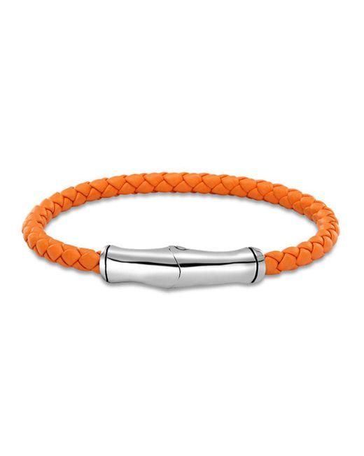 John Hardy - Men's Sterling Silver Bamboo Station Bracelet In Orange Leather for Men - Lyst