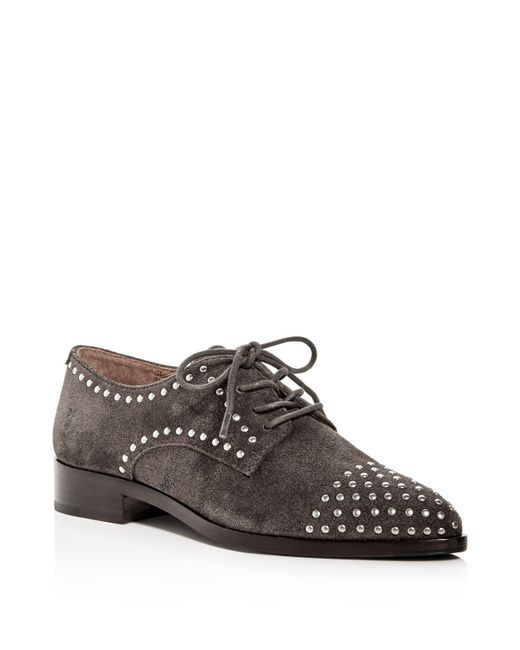 Frye | Gray Erica Stud Embellished Suede Lace Up Oxfords for Men | Lyst