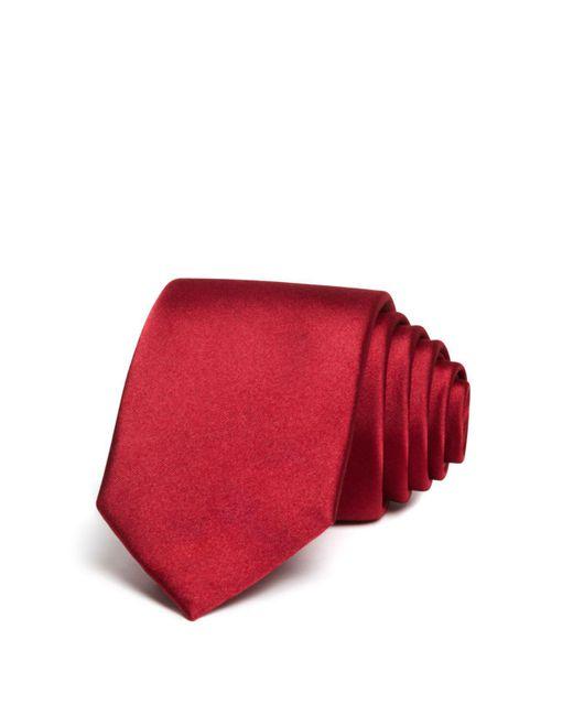 Bloomingdale's | Red Solid Satin Skinny Tie for Men | Lyst