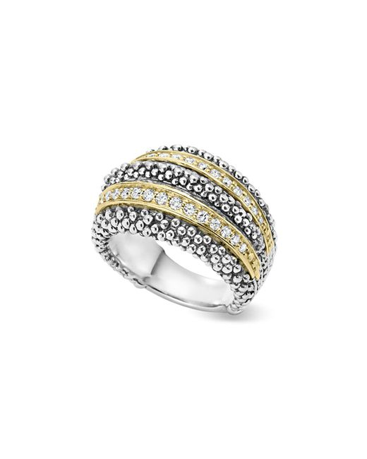 Lagos - Metallic Sterling Silver And 18k Gold Diamond Caviar Ring - Lyst