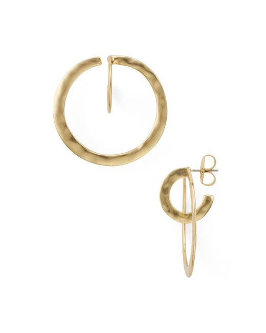 Robert Lee Morris | Metallic Hammered Gold Hoop Earrings | Lyst