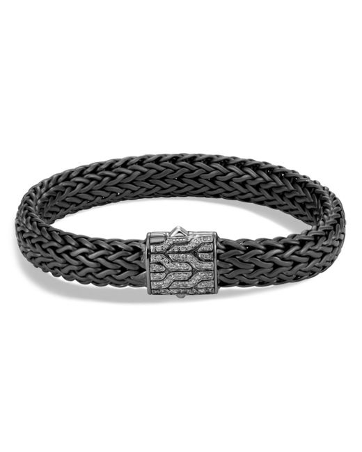 John Hardy - Men's Sterling Silver Classic Chain Large Flat Chain Bracelet With Gray Diamonds for Men - Lyst