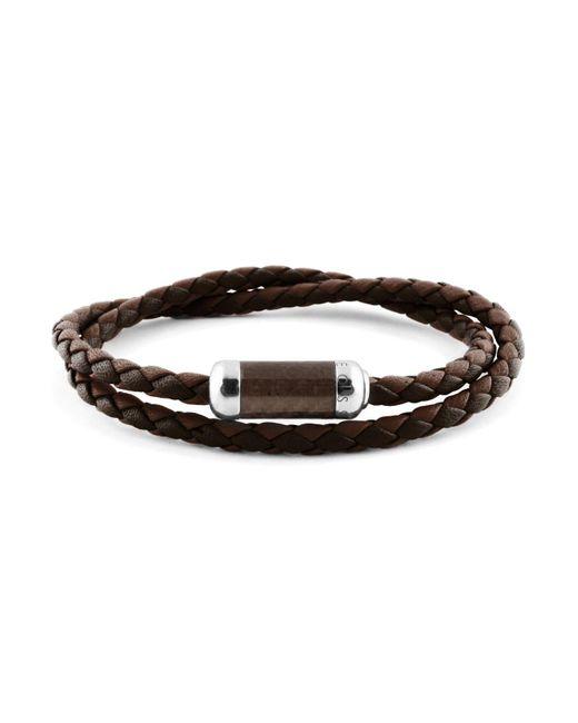 Tateossian - Brown Woven Leather Bracelet for Men - Lyst