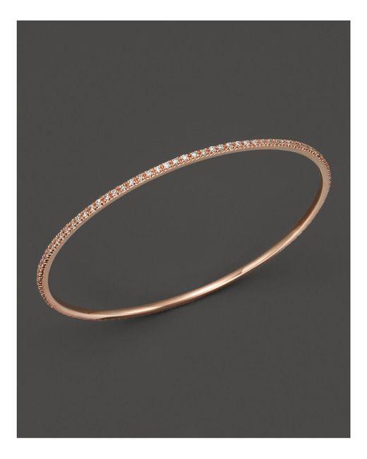 KC Designs - White Diamond Bangle In 14k Rose Gold - Lyst