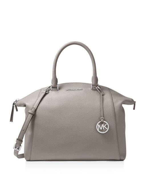 MICHAEL Michael Kors | Gray Riley Large Leather Satchel | Lyst