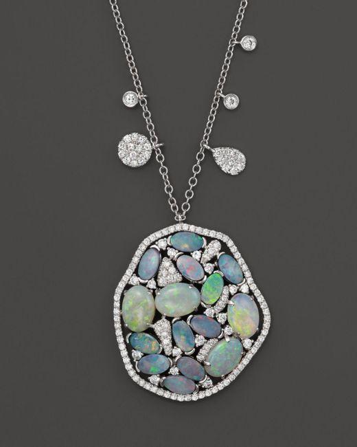 Meira T - Blue 14k White Gold Mosaic Opal Pendant Necklace - Lyst