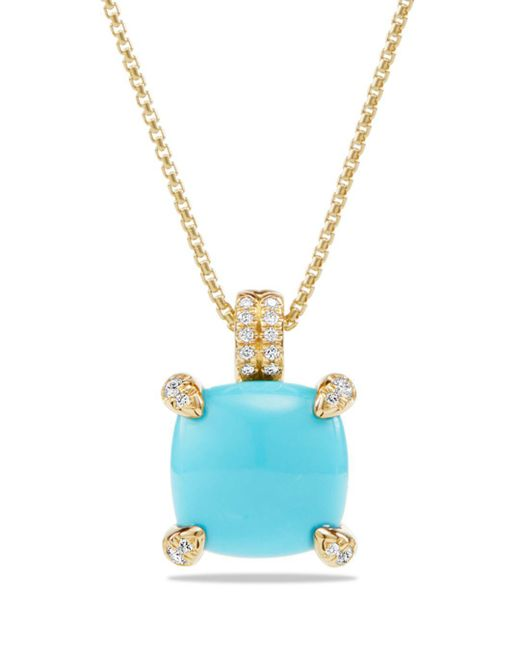 David Yurman - Blue Châtelaine Pendant Necklace With Turquoise And Diamonds In 18k Gold - Lyst