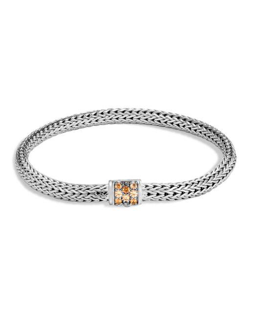 John Hardy - Metallic Sterling Silver Classic Chain Extra Small Bracelet With Mixed Mandarin Garnet - Lyst
