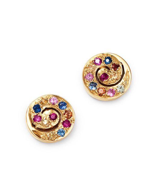 Shebee - Metallic 14k Yellow Gold Multicolor Sapphire Mini Spiral Stud Earrings - Lyst