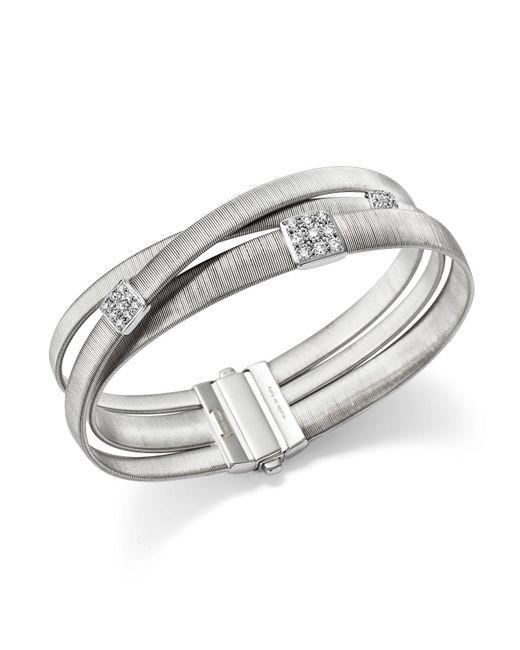 Marco Bicego - Metallic 18k White Gold Masai Three Strand Crossover Diamond Bracelet - Lyst