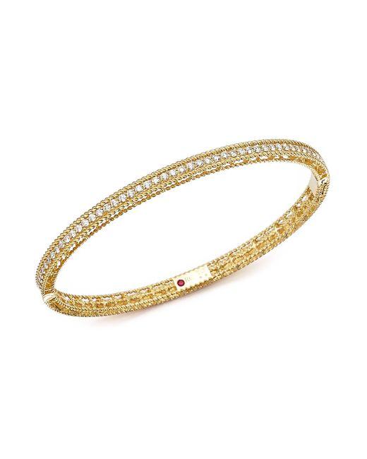 Roberto Coin | Metallic 18k Yellow Gold Symphony Braided Bangle Bracelet With Diamonds | Lyst