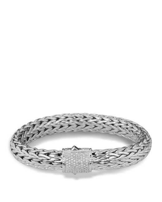 John Hardy - Metallic Classic Chain Sterling Silver Large Bracelet With Diamond Pavé - Lyst