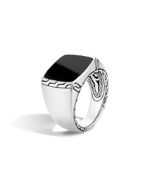 John Hardy | Batu Classic Chain Sterling Silver Signet Ring With Black Jade | Lyst
