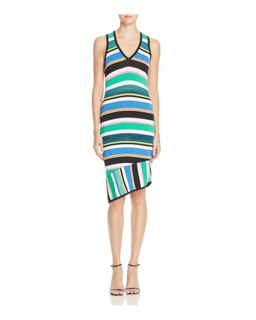 Laundry by Shelli Segal | Blue Striped Asymmetric Dress | Lyst