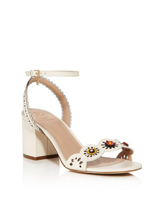 Tory Burch | White Marguerite Perforated Low-heel Sandal | Lyst