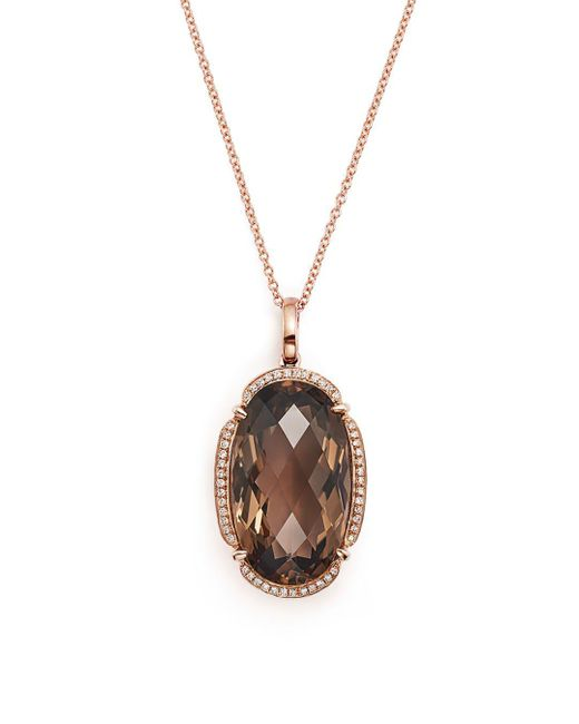 """Bloomingdale's - Metallic Smoky Quartz Oval And Diamond Pendant Necklace In 14k Rose Gold, 18"""" - Lyst"""