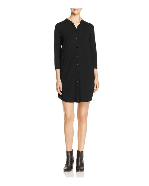 Eileen Fisher | Black Mandarin Collar Shirt Dress | Lyst