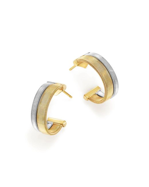 Marco Bicego | Metallic 18k Yellow And White Gold Masai Two Row Hoop Earrings | Lyst