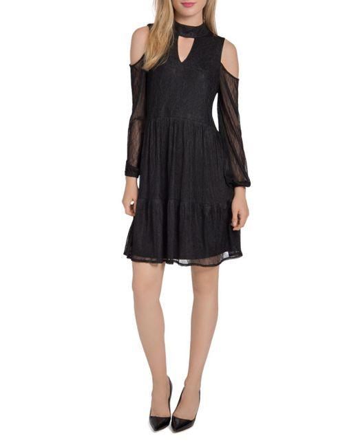 Lyssé - Black Cold-shoulder Lace Dress - Lyst