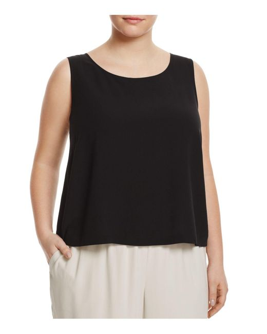 Eileen Fisher | Black System Silk Cropped Shell | Lyst