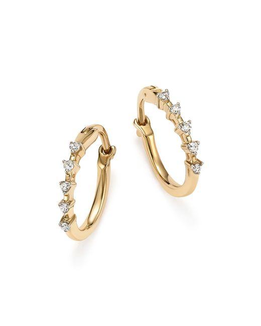 Adina Reyter   Metallic 14k Yellow Gold 5-diamond Huggie Hoop Earrings   Lyst
