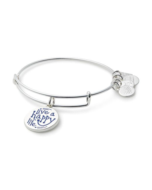 ALEX AND ANI | Metallic Live A Happy Life Expandable Wire Bangle | Lyst