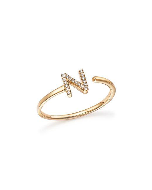 Dana Rebecca   Metallic Diamond Initial Ring In 14k Yellow Gold   Lyst