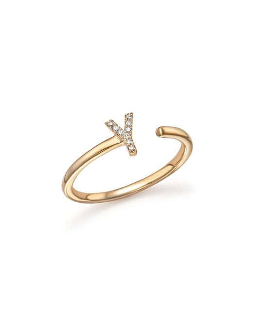 Dana Rebecca | Metallic Diamond Initial Ring In 14k Yellow Gold | Lyst