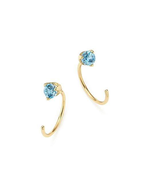 Zoe Chicco | Metallic 14k Yellow Gold And Aquamarine Reverse Hoop Earrings | Lyst