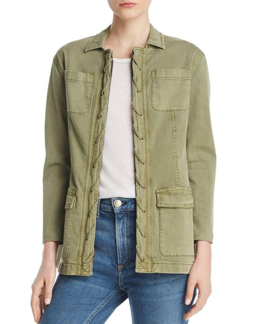 Current/Elliott - Green The Laced-placket Jacket - Lyst