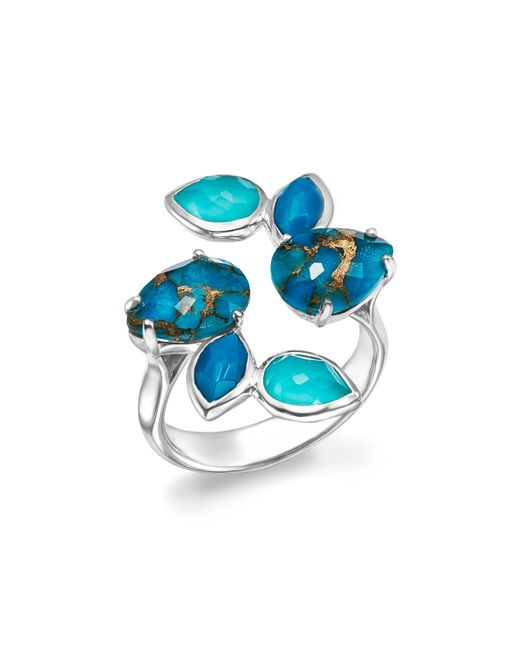 Ippolita   Metallic Sterling Silver Rock Candy® Mixed Turquoise And Doublet Bypass Ring   Lyst