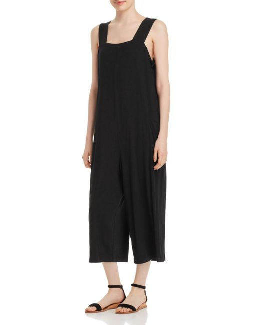 Eileen Fisher - Black Slouchy Cropped Jumpsuit - Lyst