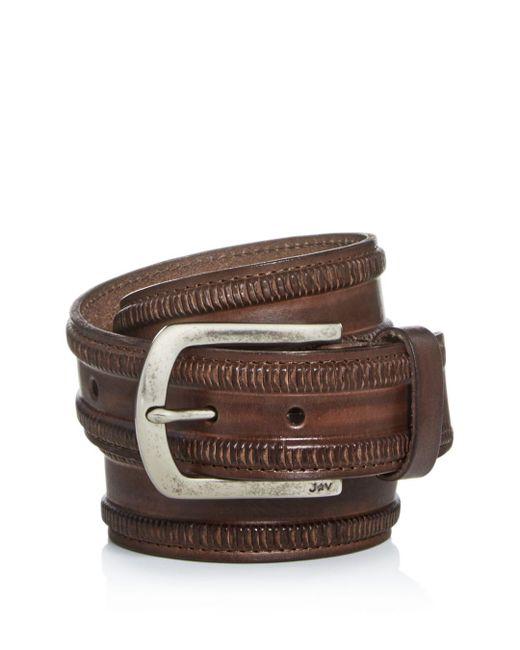 John Varvatos - Brown Men's Mushroom Cut Leather Belt for Men - Lyst