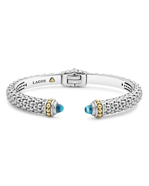 Lagos - Metallic 18k Gold And Sterling Silver Caviar Color Blue Topaz Cuff - Lyst