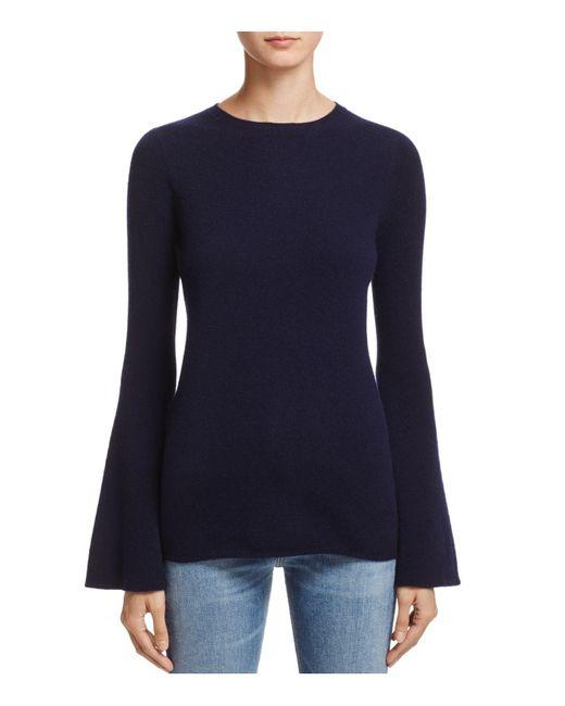 Aqua | Blue Cashmere Bell-sleeve Crewneck Sweater | Lyst