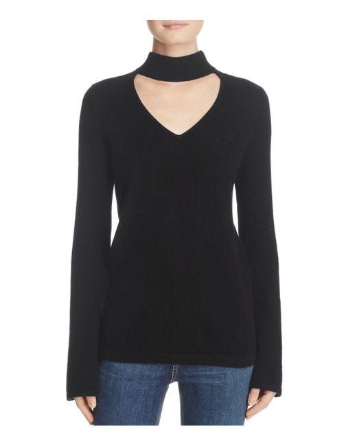 Aqua | Black Cashmere Peakneck Bell Sleeve Sweater | Lyst